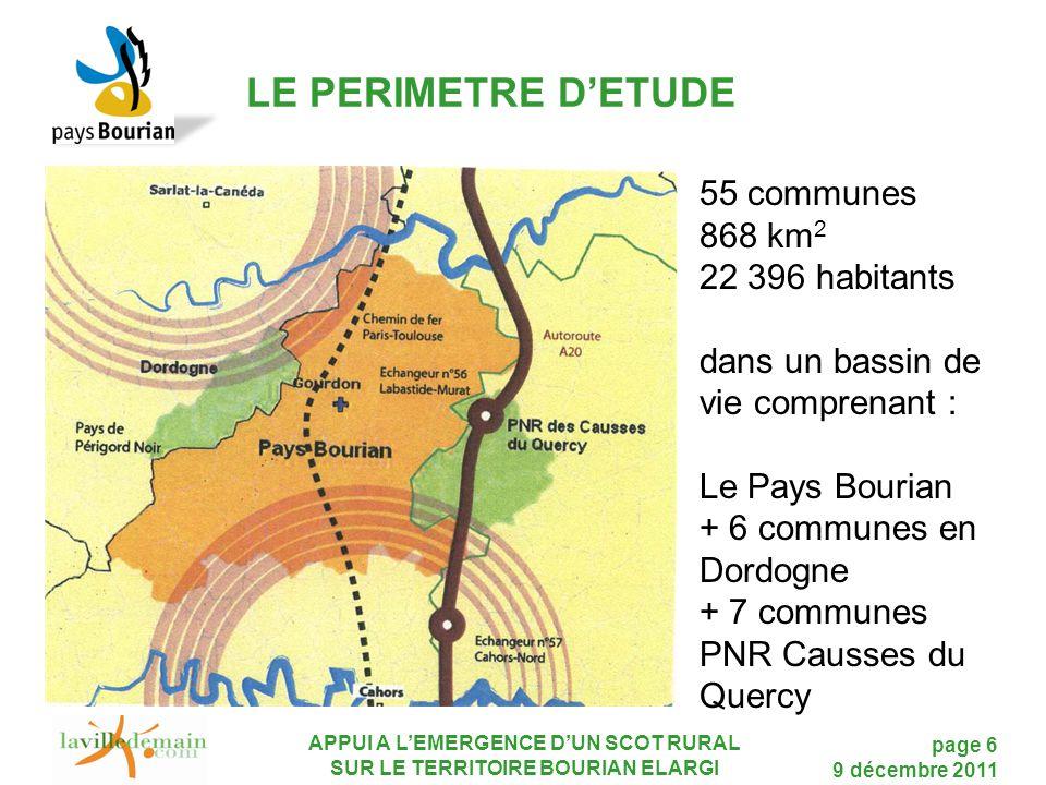 LE PERIMETRE D'ETUDE 55 communes 868 km2 22 396 habitants