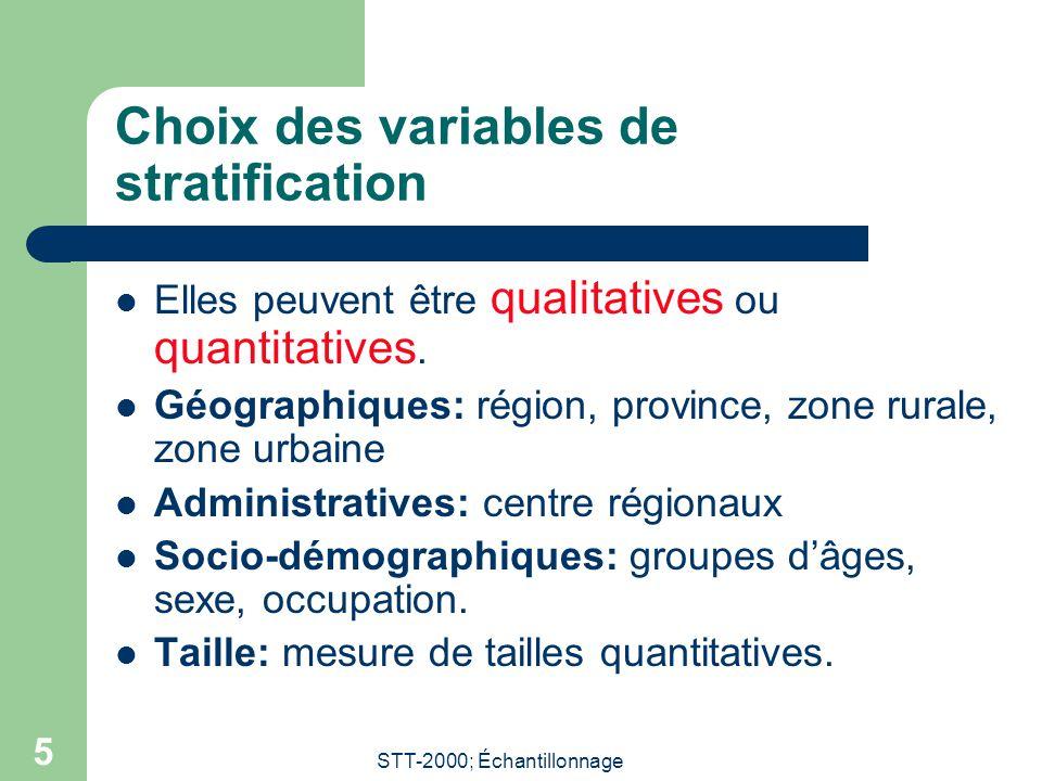 Choix des variables de stratification
