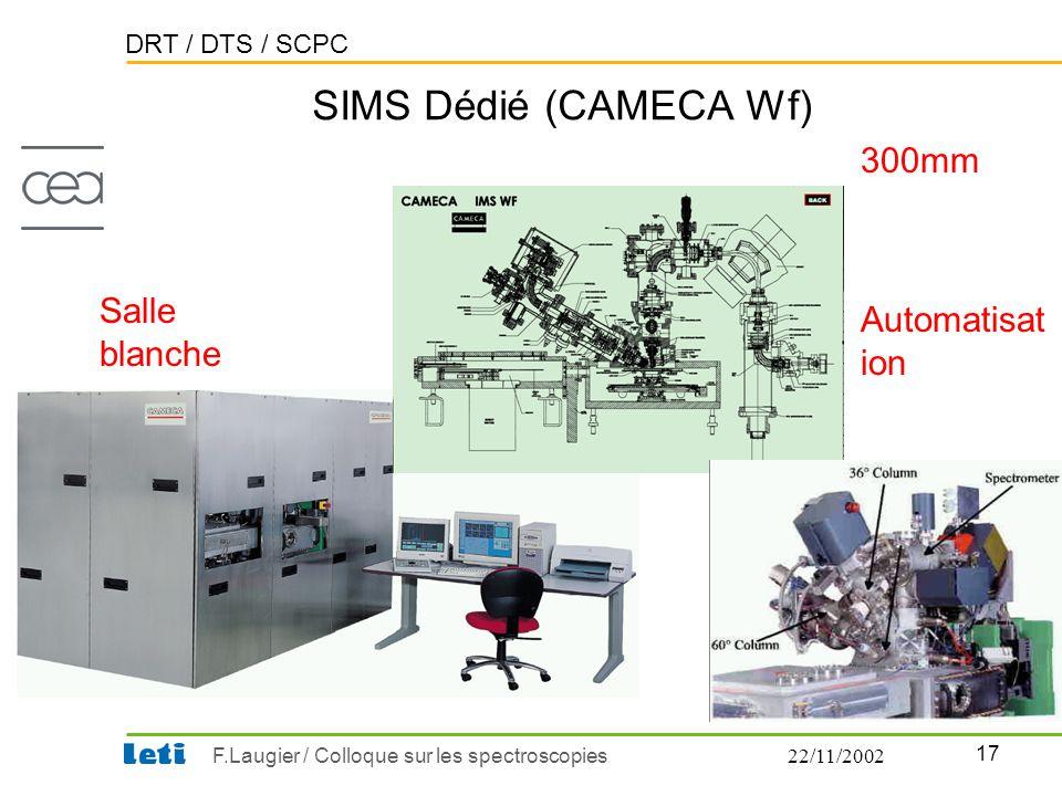 SIMS Dédié (CAMECA Wf) 300mm Salle blanche Automatisation 22/11/2002