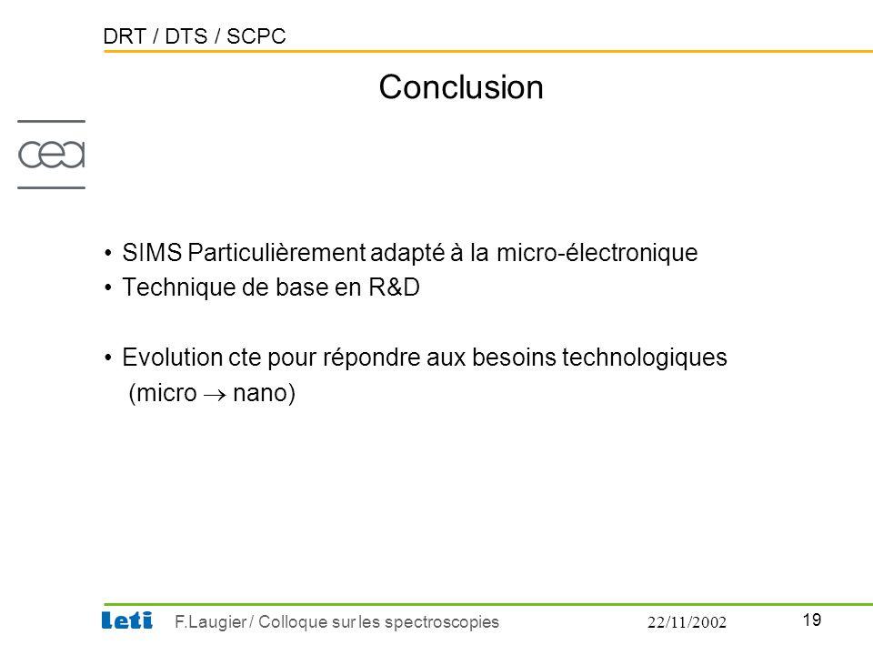 Conclusion SIMS Particulièrement adapté à la micro-électronique