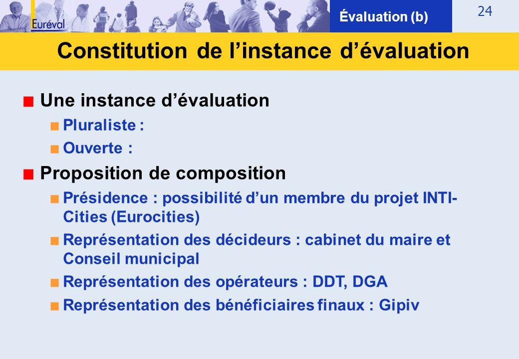 Constitution de l'instance d'évaluation