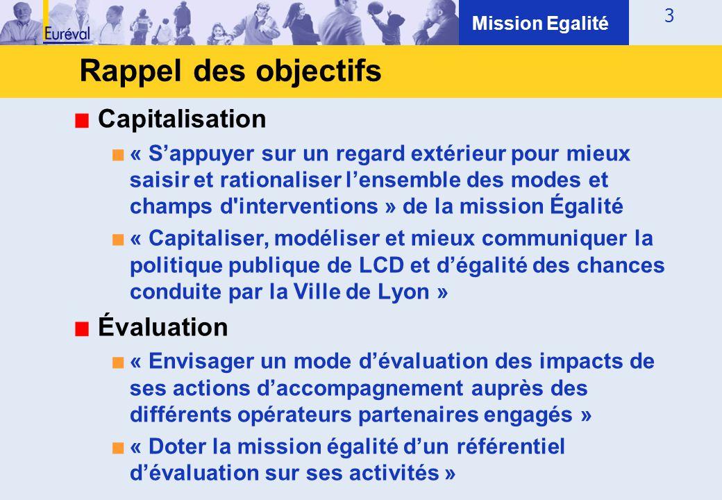 Rappel des objectifs Capitalisation Évaluation