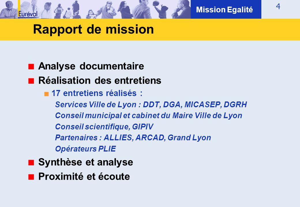 Rapport de mission Analyse documentaire Réalisation des entretiens