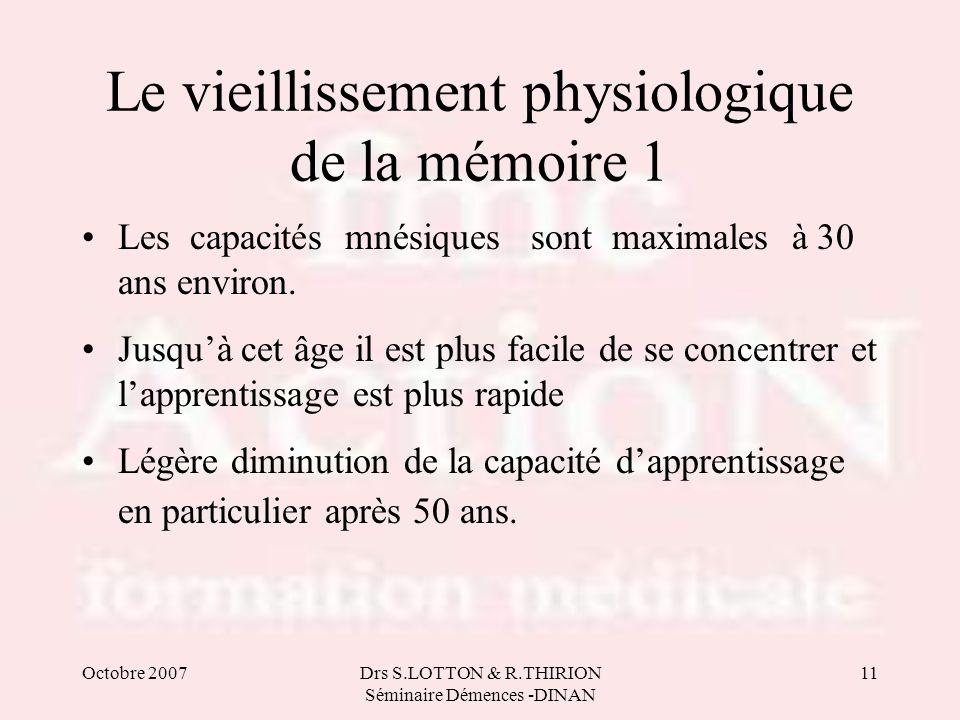 Le vieillissement physiologique de la mémoire 1