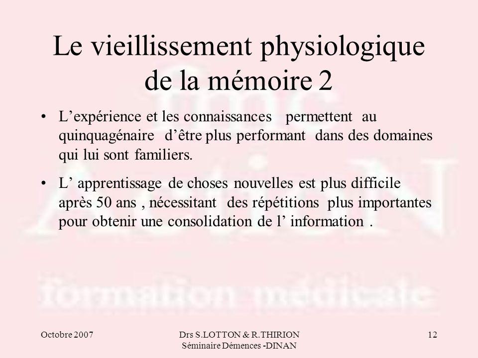 Le vieillissement physiologique de la mémoire 2