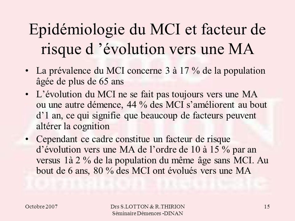 Epidémiologie du MCI et facteur de risque d 'évolution vers une MA