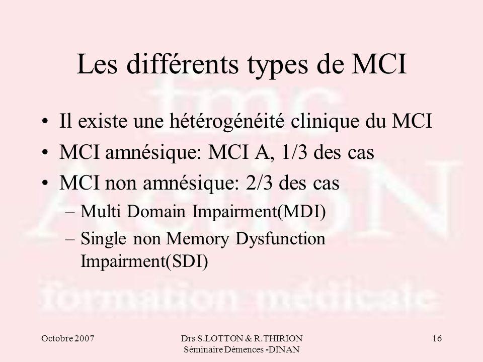 Les différents types de MCI