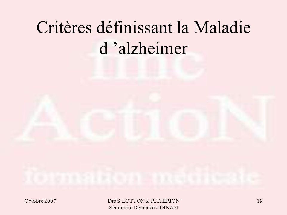 Critères définissant la Maladie d 'alzheimer