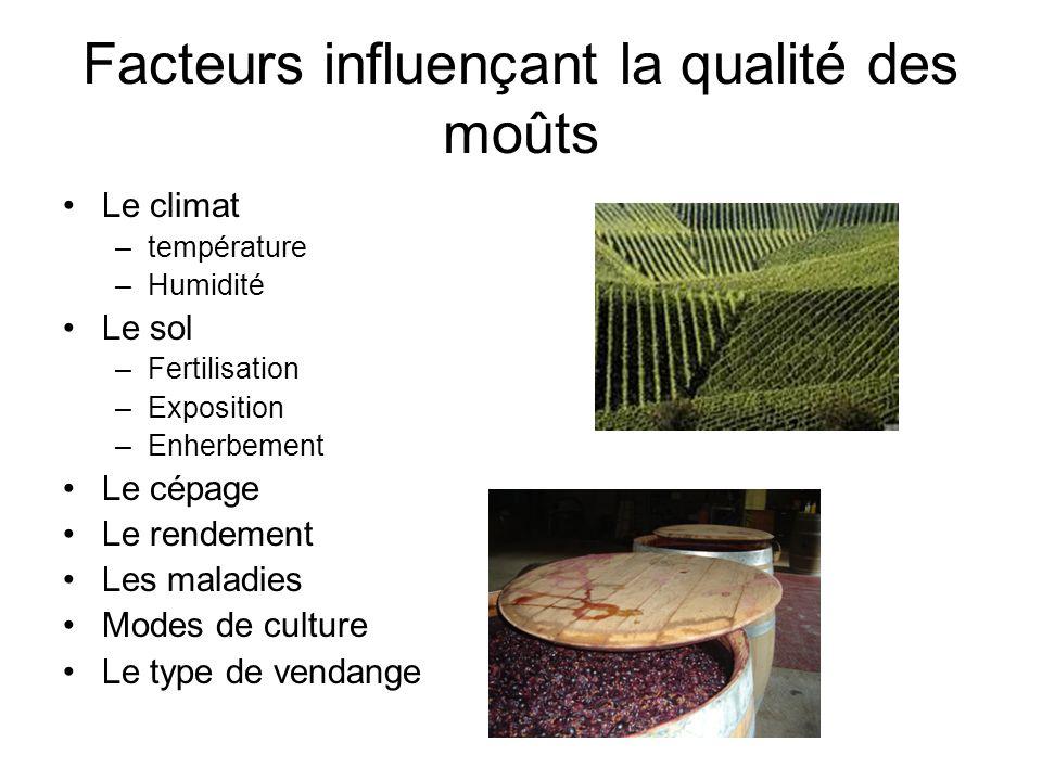 Facteurs influençant la qualité des moûts