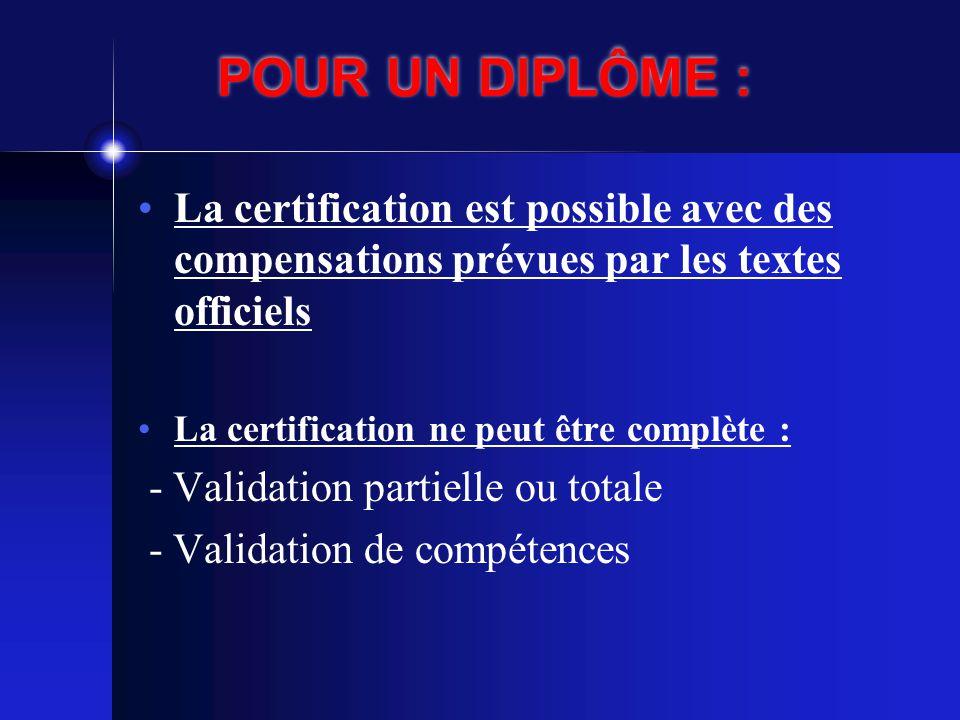 POUR UN DIPLÔME : La certification est possible avec des compensations prévues par les textes officiels.