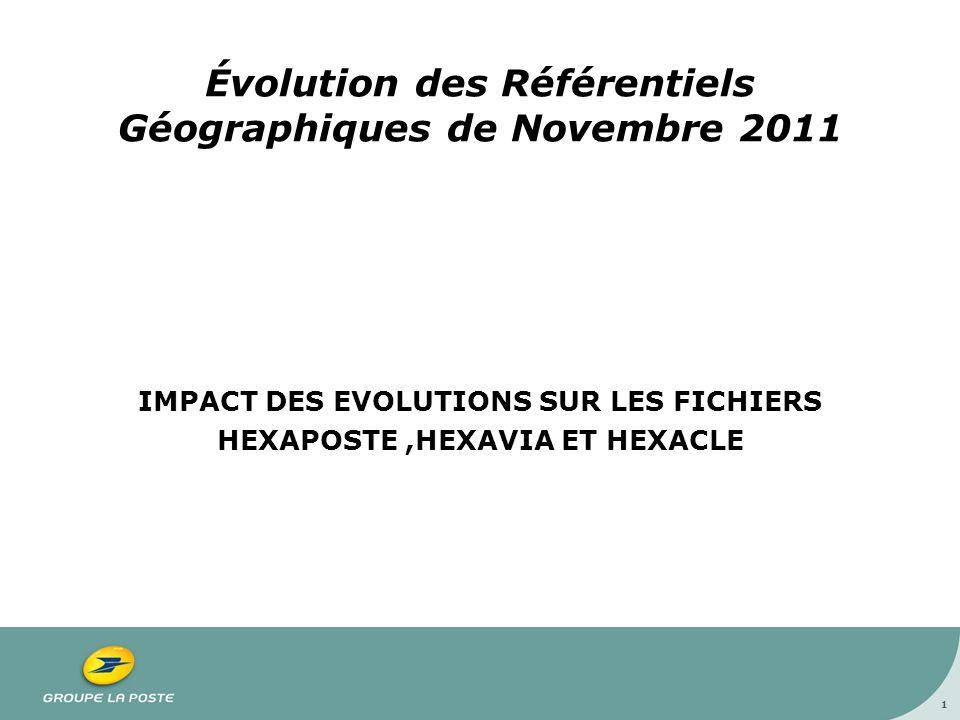 Évolution des Référentiels Géographiques de Novembre 2011