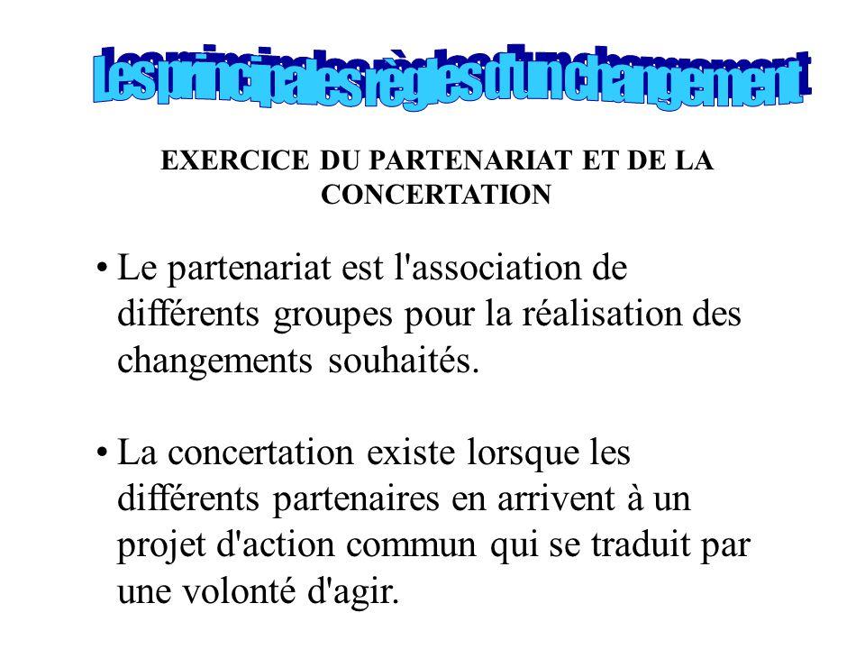 EXERCICE DU PARTENARIAT ET DE LA CONCERTATION