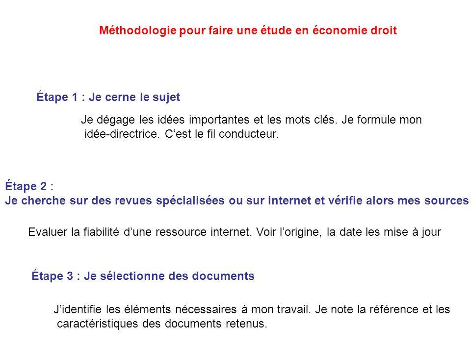 Méthodologie pour faire une étude en économie droit