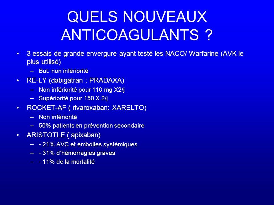 QUELS NOUVEAUX ANTICOAGULANTS