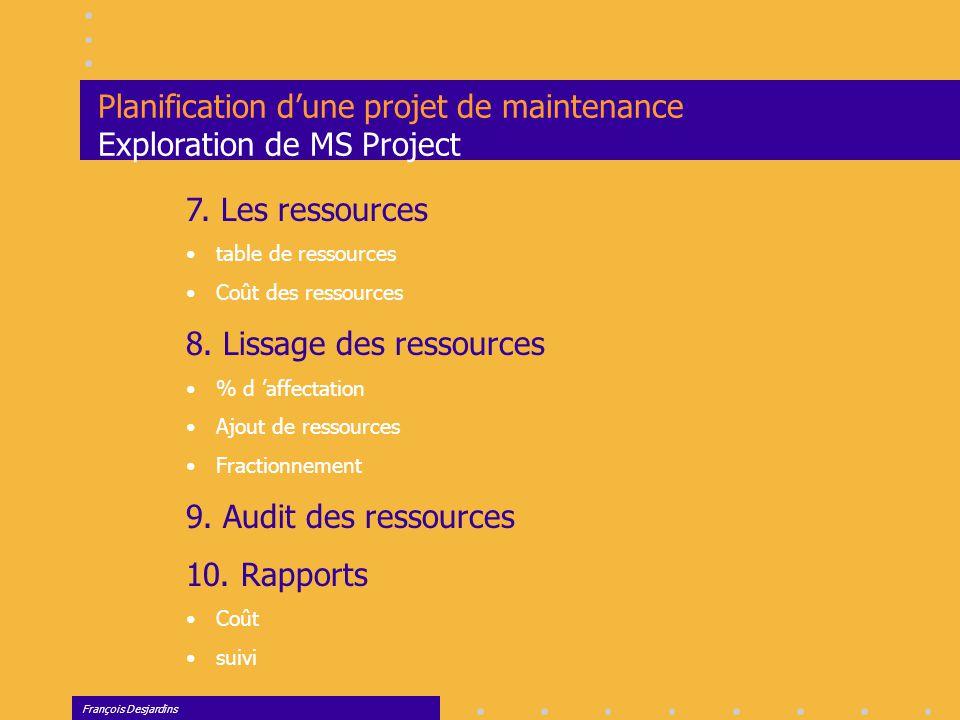 Planification d'une projet de maintenance Exploration de MS Project
