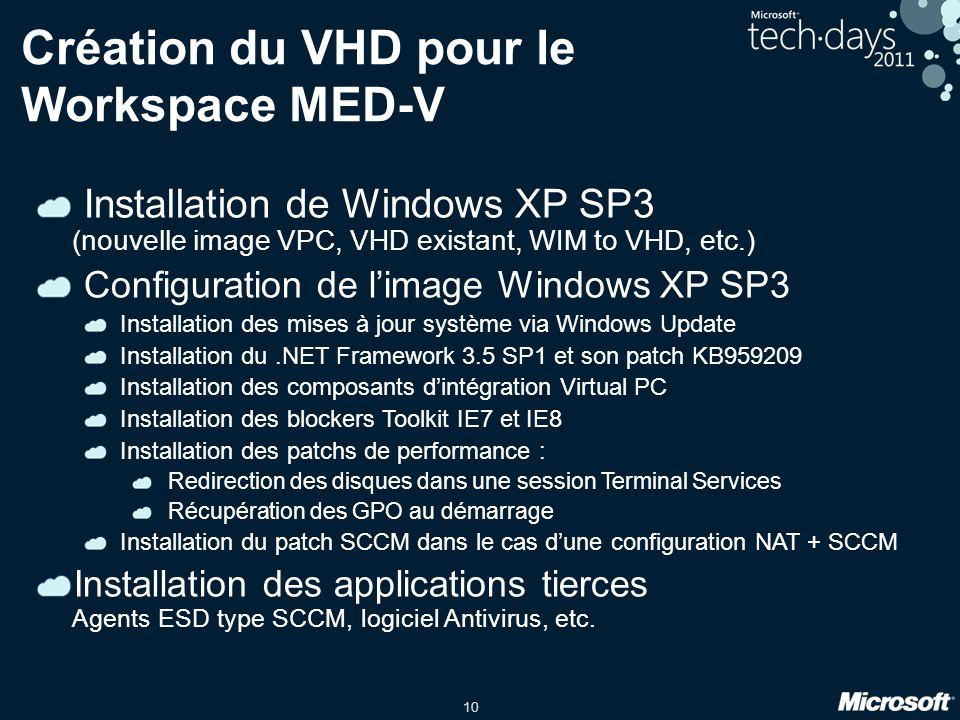 Création du VHD pour le Workspace MED-V