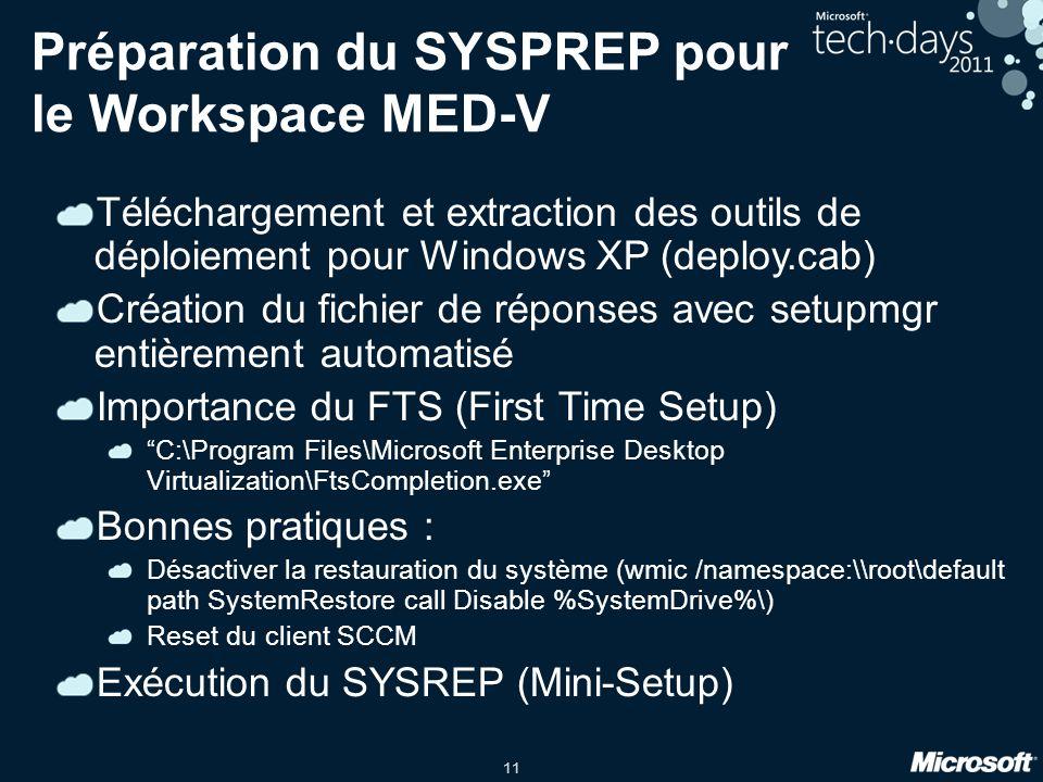 Préparation du SYSPREP pour le Workspace MED-V