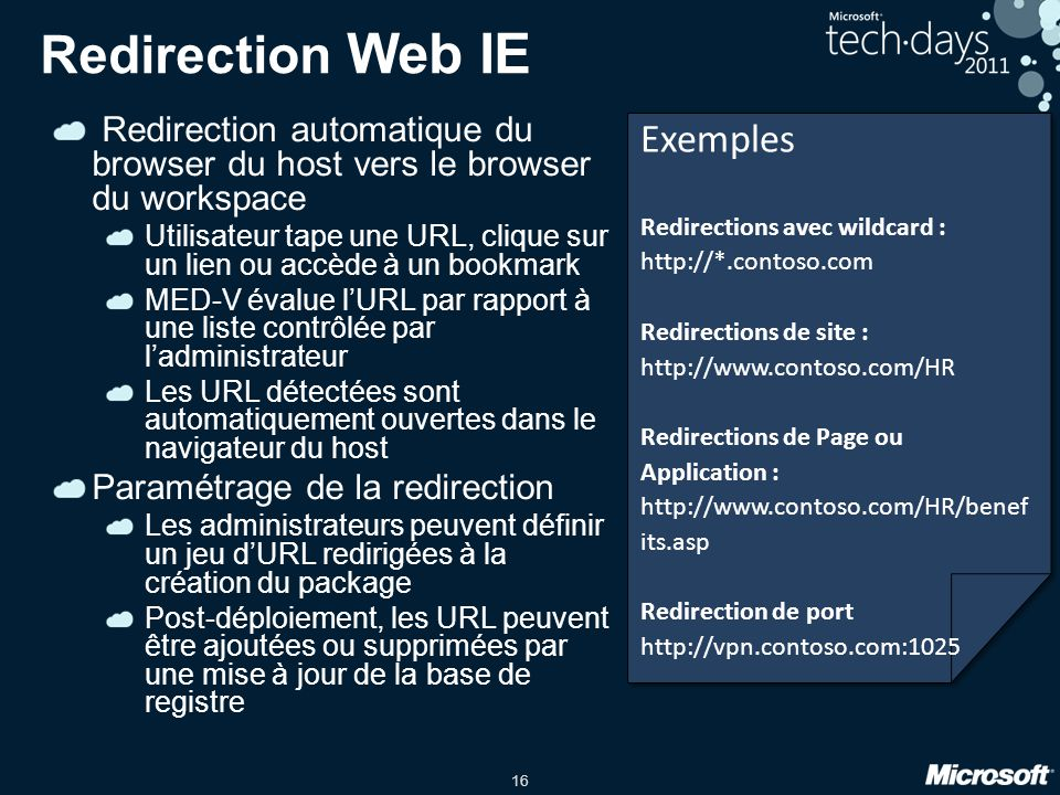 Redirection Web IE Exemples