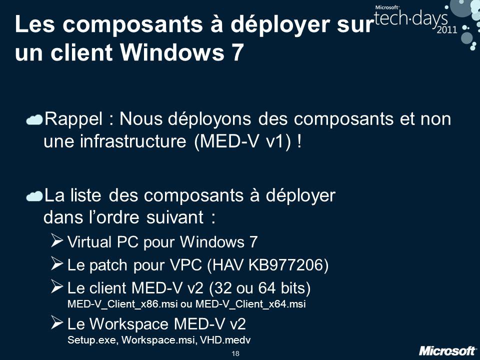Les composants à déployer sur un client Windows 7