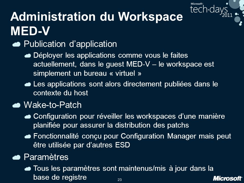 Administration du Workspace MED-V