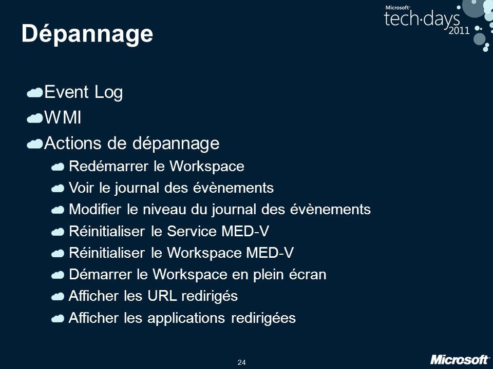 Dépannage Event Log WMI Actions de dépannage Redémarrer le Workspace