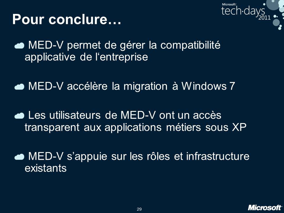 Pour conclure… MED-V permet de gérer la compatibilité applicative de l'entreprise. MED-V accélère la migration à Windows 7.