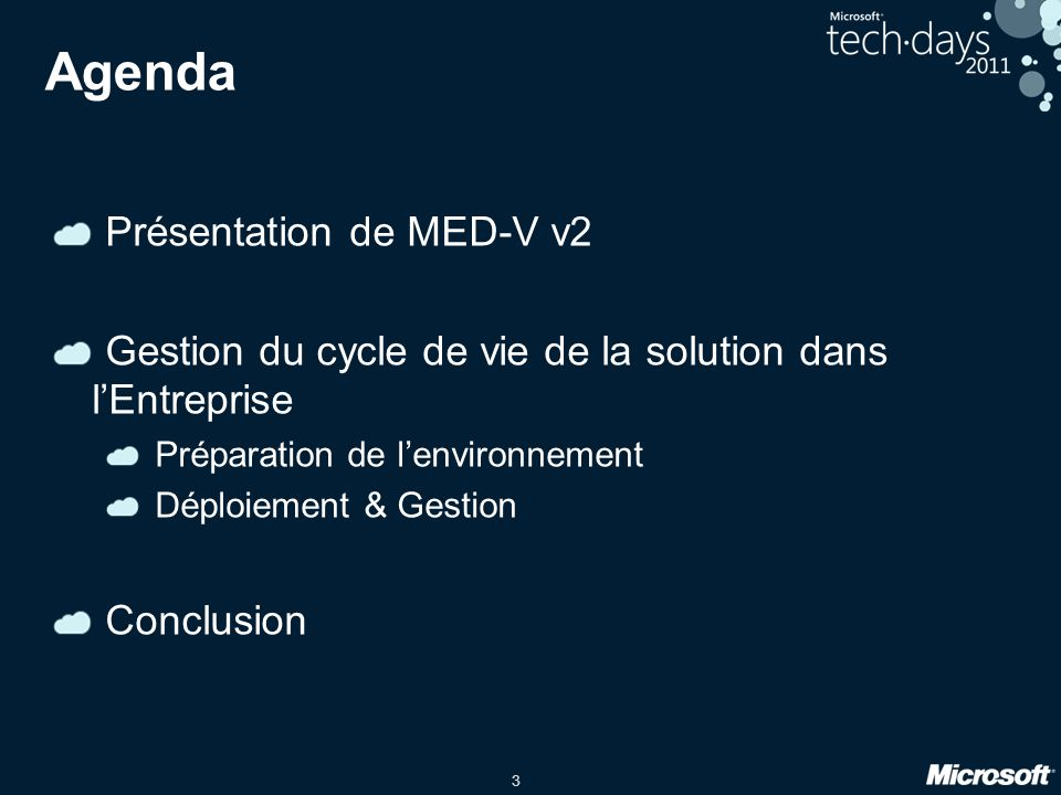 Agenda Présentation de MED-V v2