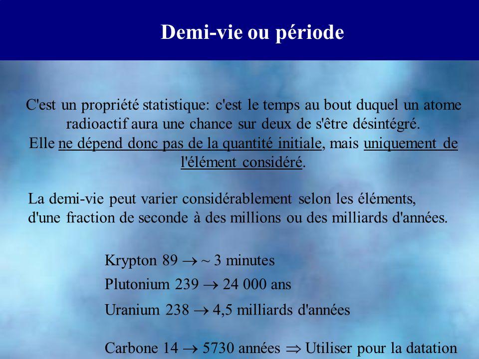 Demi-vie ou période C est un propriété statistique: c est le temps au bout duquel un atome radioactif aura une chance sur deux de s être désintégré.