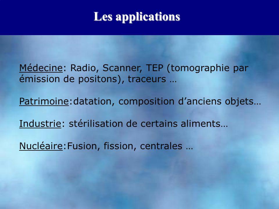 Les applications Médecine: Radio, Scanner, TEP (tomographie par émission de positons), traceurs … Patrimoine:datation, composition d'anciens objets…