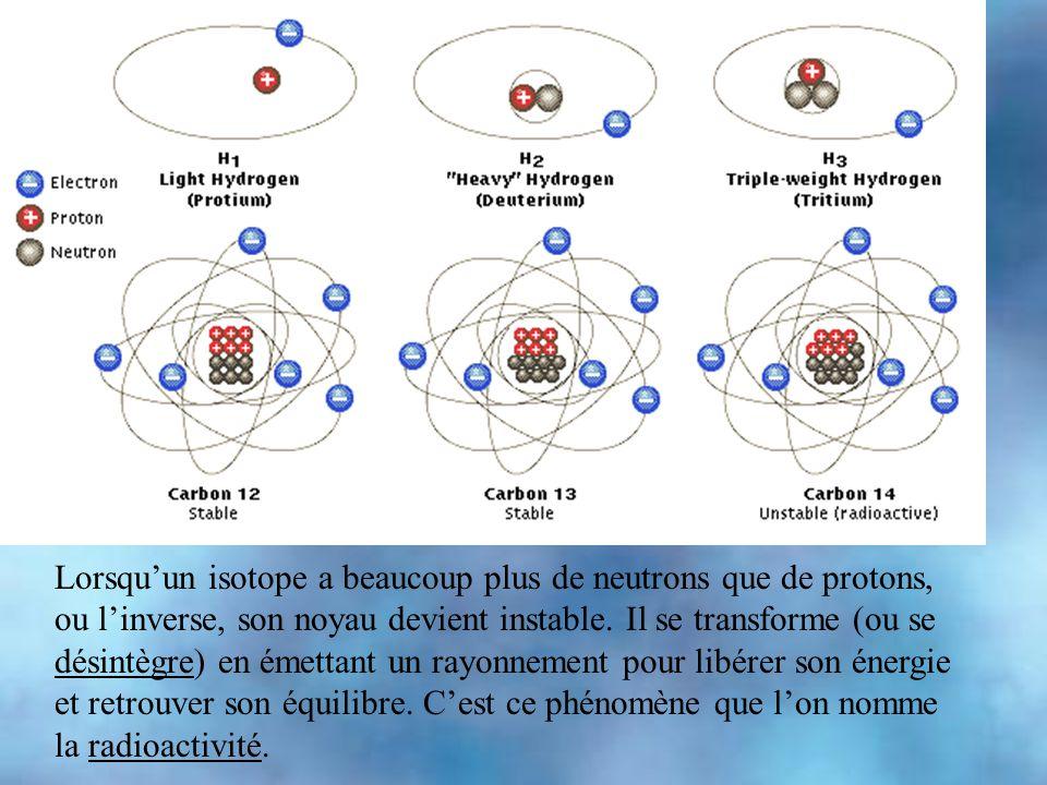 hydrogène qui a trois isotopes : - hydrogène:. 1 p, 1 e- - deutérium: