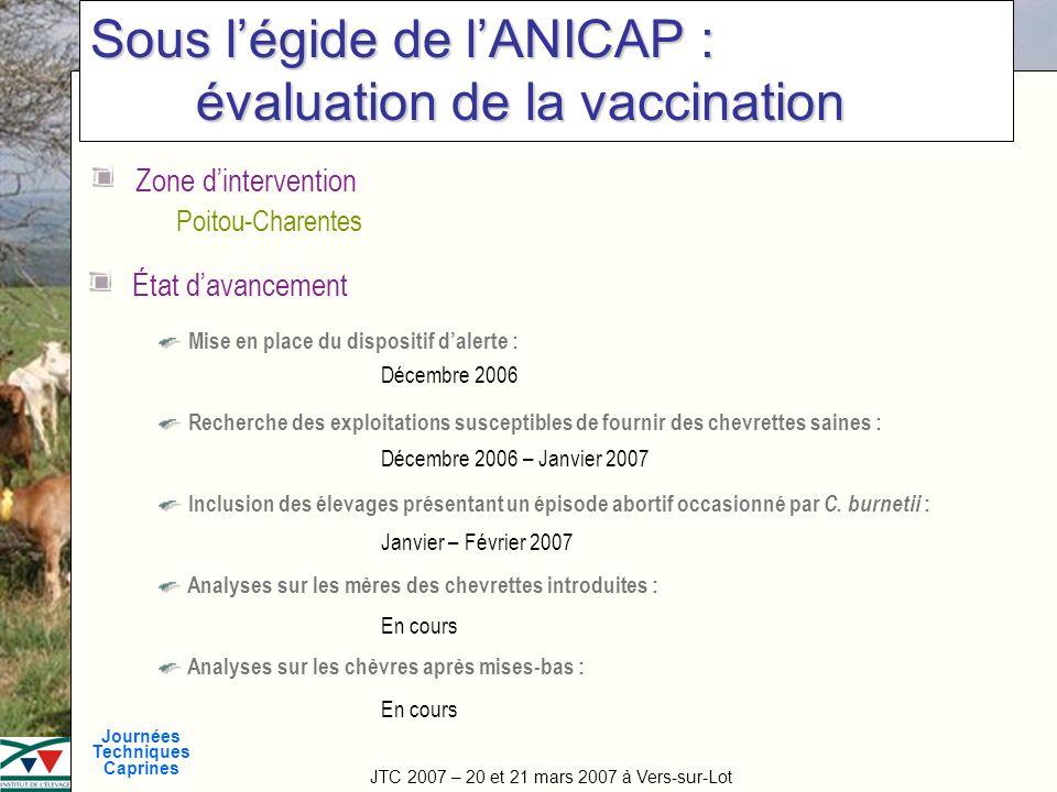 Sous l'égide de l'ANICAP : évaluation de la vaccination