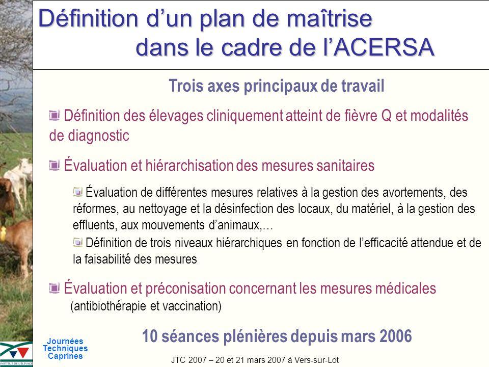 Définition d'un plan de maîtrise dans le cadre de l'ACERSA