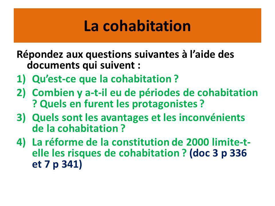 La cohabitation Répondez aux questions suivantes à l'aide des documents qui suivent : Qu'est-ce que la cohabitation