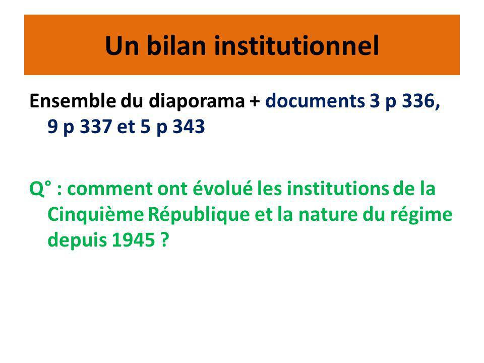 Un bilan institutionnel