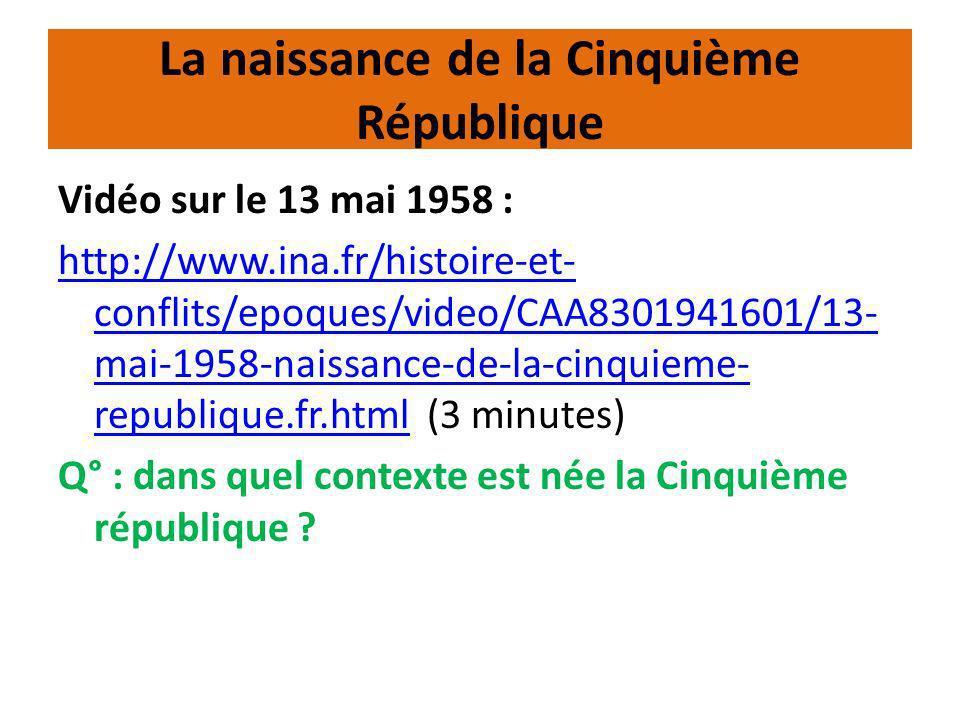 La naissance de la Cinquième République