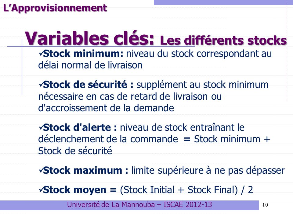 Variables clés: Les différents stocks