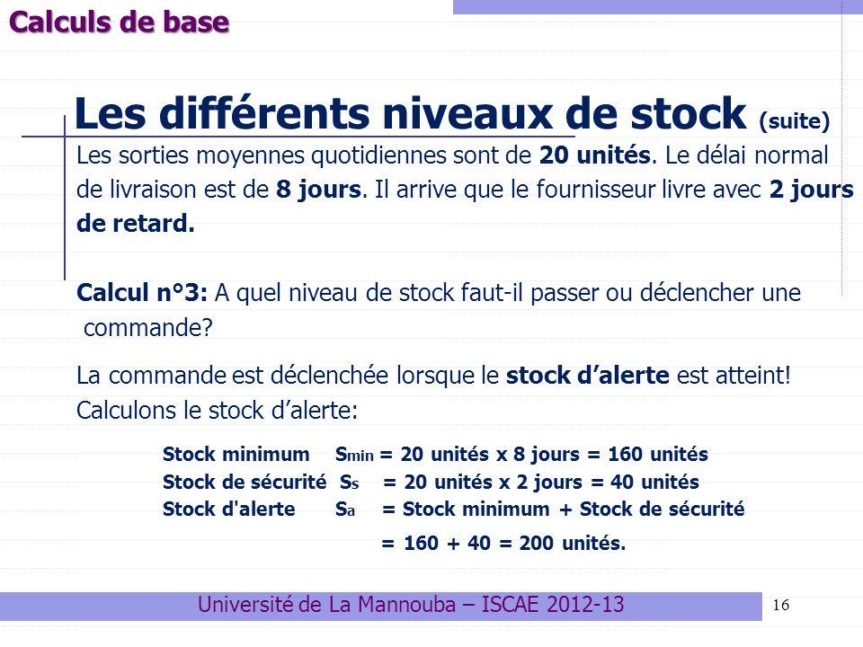 Les différents niveaux de stock (suite)