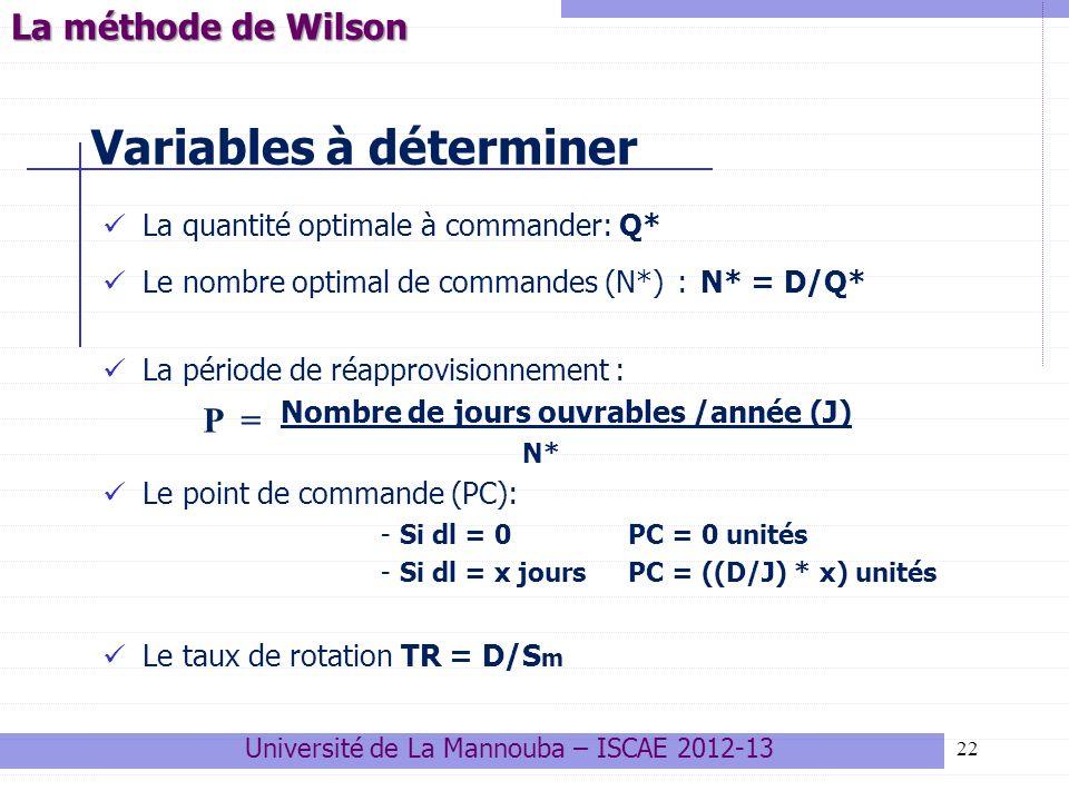 Variables à déterminer