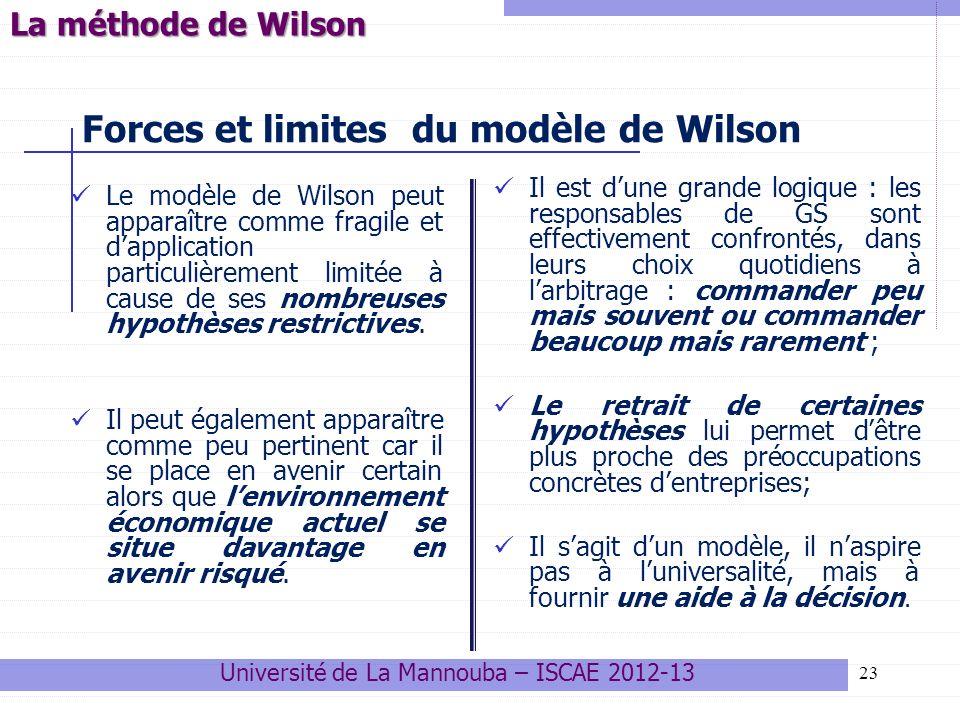 Forces et limites du modèle de Wilson