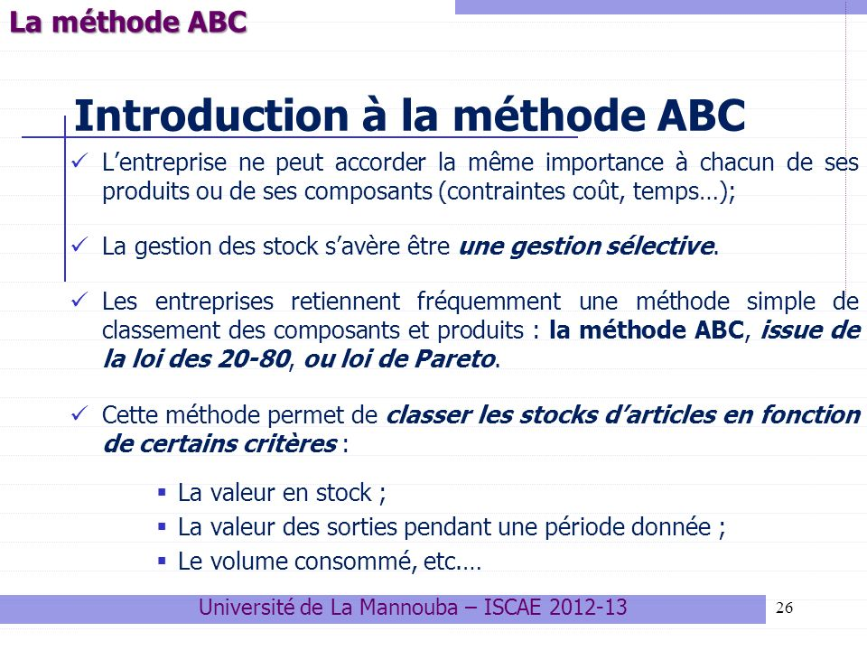 Introduction à la méthode ABC