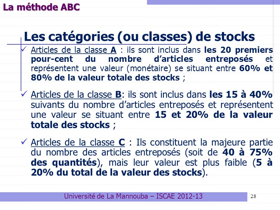 Les catégories (ou classes) de stocks