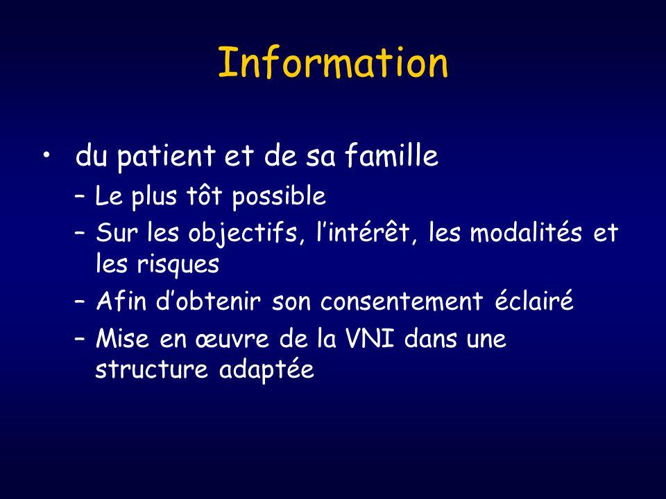 Information du patient et de sa famille Le plus tôt possible