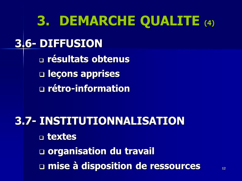 DEMARCHE QUALITE (4) 3.6- DIFFUSION 3.7- INSTITUTIONNALISATION