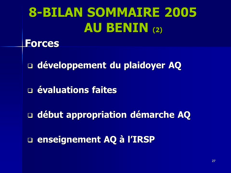 8-BILAN SOMMAIRE 2005 AU BENIN (2)