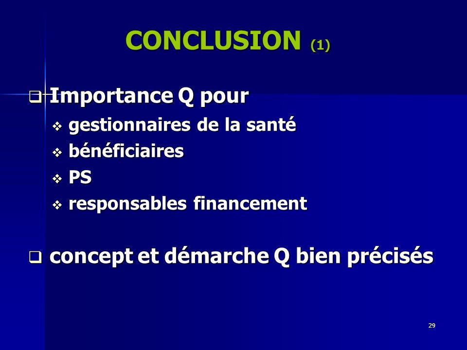 CONCLUSION (1) Importance Q pour concept et démarche Q bien précisés