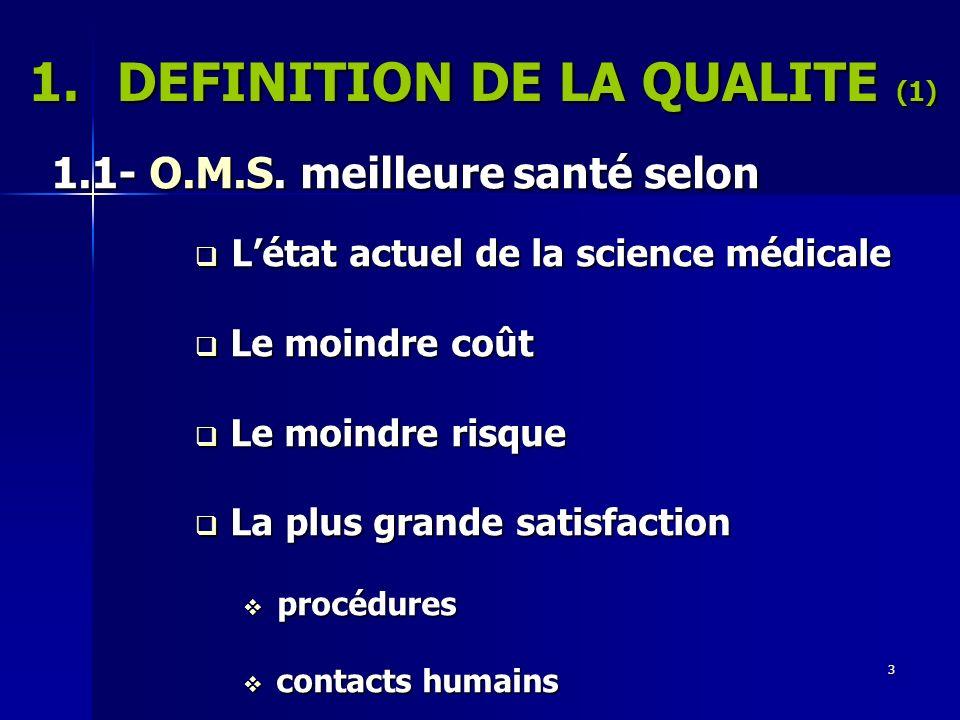 DEFINITION DE LA QUALITE (1)