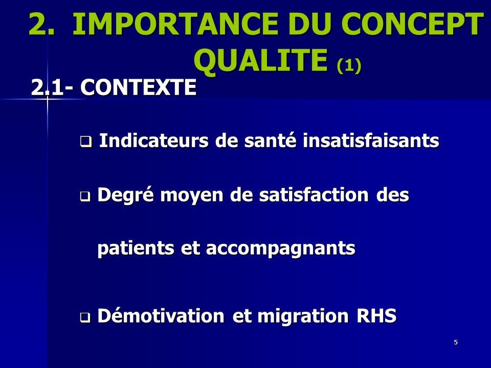 IMPORTANCE DU CONCEPT QUALITE (1)