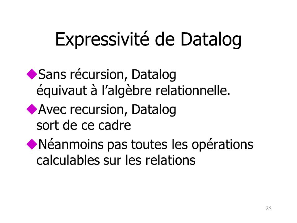 Expressivité de Datalog