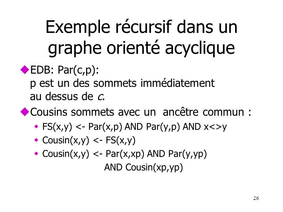 Exemple récursif dans un graphe orienté acyclique