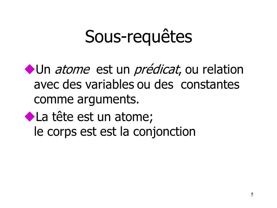 Sous-requêtes Un atome est un prédicat, ou relation avec des variables ou des constantes comme arguments.